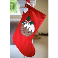 Personalised Red Vintage Style Pudding Stocking