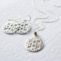 Silver Round Floral Jewellery Set, Silver