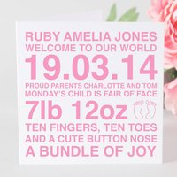Personalised Baby Girl Card & Optional Tag