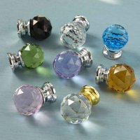 Faceted Crystal Glass Cupboard Door Knobs, Amber
