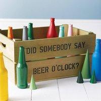 Personalised Beer Or Wine Storage Crate, Silver/Ivory/Pink