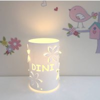 Flower Personalised Table Lamp Bedside Lamp, White/Baby Pink/Pink