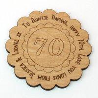 70th Birthday Message Coaster Card Keepsake
