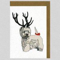 Illustrated Westie Deer Blank Card