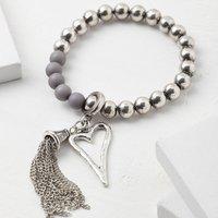 'Tsolo' Beaded Tassel Bracelet, Grey/Silver/Black