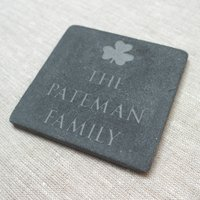 Personalised Good Luck Slate, Grey/White