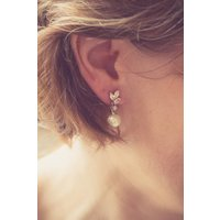 Marquise Crystal And Vintage Pearl Earrings