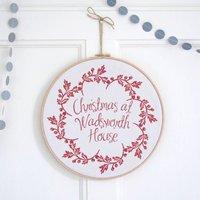 Personalised Christmas Wreath Hoop, Sand/Green/Red
