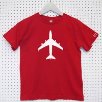 Personalised 'Aeroplane' Child's Organic Cotton T Shirt, Kelly Green/Green/Red