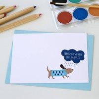 12 Personalised Blue Rainy Day Dog Thank You Cards, Blue