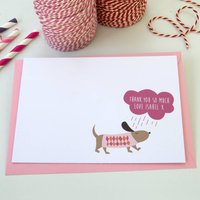 12 Personalised Pink Rainy Day Dog Thank You Cards, Pink