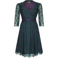 1950s Style Full Skirted Dress In Emerald And Lace