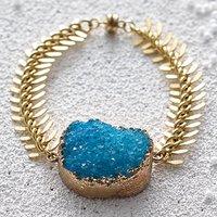 Druzy Statement Bracelet, Aqua/Gold/White