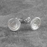 Circular Spiral Wire Wrapped Nest Stud Earrings