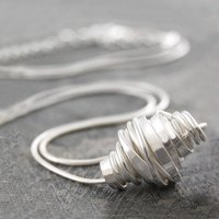 Coiled Sterling Silver Wire Necklace, Silver