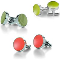 Concave Enamelled Cufflinks, Lime Green/Lime/Green