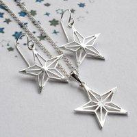 Silver Geometric Star Jewellery Set, Silver