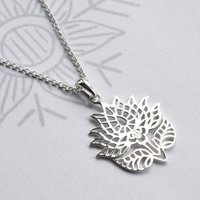 Silver Flowering Lotus Necklace, Silver