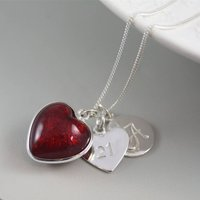 Silver Necklace With Murano Glass Heart And Initial, Silver