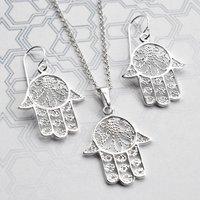 Silver Fatima Hand Jewellery Set, Silver