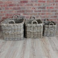 Set Of Rattan Rectangle Baskets