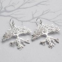 Sterling Silver Dangly Bonsai Tree Earrings, Silver