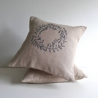 Winter Mistletoe Berry Wreath Cushion Cover
