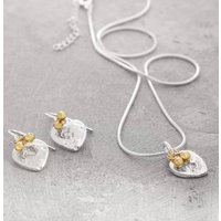 Organic Silver And Gold Heart Necklace And Earrings Set, Silver