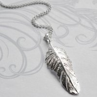 Sterling Silver Feather Drop Necklace, Silver