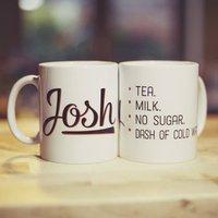 'Your Perfect Cuppa' Customisable Mug, Pumpkin/Hot Pink/Pink