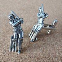 Pewter Cricketer Cufflinks