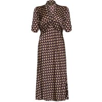 1940s Style Midi Dress In Chocolate Fan Print Crepe
