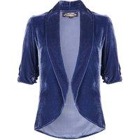 1940s Style Tea Jacket In Celeste Blue Silk Velvet, Blue