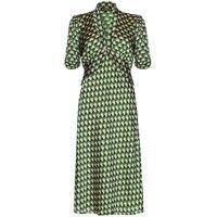 1940s Style Midi Dress In Malachite Fan Print Crepe
