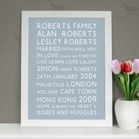 Personalised Family Typographic Art Print, Black/Grey/Red