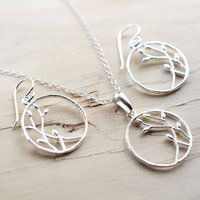 Silver Bud Loop Jewellery Set, Silver