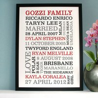 Personalised Family Portrait Typography Print, Red/Black/Grey