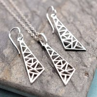 Silver Geometric Drop Triangle Jewellery Set, Silver
