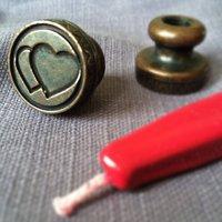 Love Heart Brass Wax Seal, Burgundy/Pearl/Ivory