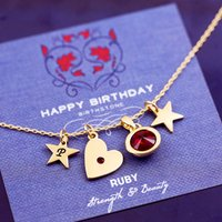Design Your Own Birthstone Heart Necklace, Silver/Gold/Rose Gold
