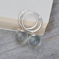 Glass Ball Dangle Earrings With Sterling Silver Hoops, Silver