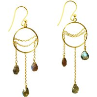 Amelia Earrings Labradorite And Gold, Gold
