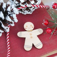 Wooden Gingerbread Man Brooch