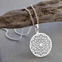 Sterling Silver Snowflake Necklace, Silver