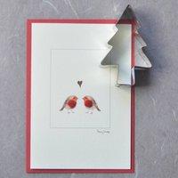 Christmas Card With Robins