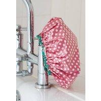 Waterproof Shower Cap In Red Spotty Print