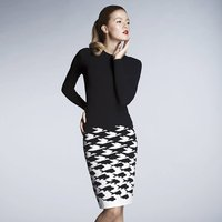 Sea And Sky Knitted Jacquard Dress, Black/Blue/Ivory