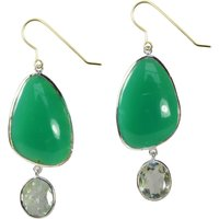 Peppa Earrings Chrysoprase, Green Amethyst And Silver, Silver