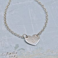 Girls Personalised Silver Heart Necklace, Silver