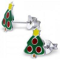 Sterling Silver Christmas Tree Earrings, Silver